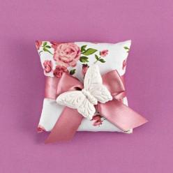 Floral Μαξιλαράκι για Μπομπονιέρα Γάμου με Ακρυλική Πεταλούδα