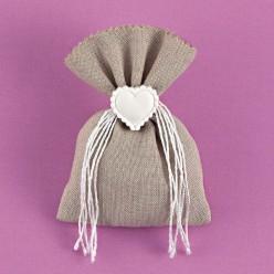 Μπομπονιέρα Γάμου Πουγκί Γκρι με Διακοσμητική Καρδιά Εκρού