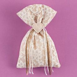 Πουγκί Άμμου με Δαντέλα και Ακρυλική Καρδιά για Μπομπονιέρα Γάμου