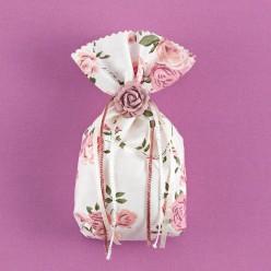 Ρομαντικό Floral Πουγκί με Ακρυλικό Τριαντάφυλλο για Μπομπονιέρα Γάμου