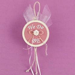 Μπομπονιέρα Γάμου Κορνίζα Ξύλινη με Αρχικά και Ύφασμα σε Χρώμα Σάπιο Μήλο