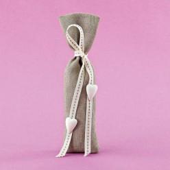 Μπομπονιέρα Γάμου Λινό Πουγκί με Ακρυλικές Καρδιές