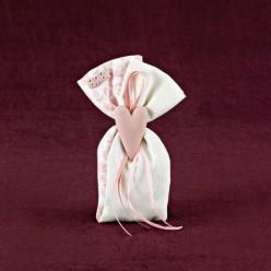 Πουγκί Διπλό Βαμβακερό με Διακόσμηση Καρδιάς για Μπομπονιέρα Γαμοβάπτισης