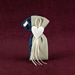 Μπομπονιέρα για Γαμοβάπτισης με Πουγκί Διπλό Βαμβακερό Διακοσμημένο με Καρδιάς