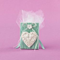 Μπομπονιέρα Γάμου Βεραμάν Κορνίζα με Καρδιά και Πλεκτό Λουλουδάκι