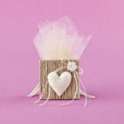 Μπομπονιέρα Γάμου Κορνίζα με Καρδιά και Λουλουδάκι