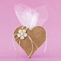 Μπομπονιέρα Γάμου Καρδιά από Φελλό με Λουλουδάκι