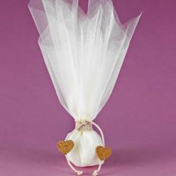 Μπομπονιέρα Γάμου με Τούλι και Καρδιές από Φελλό