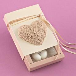 Κουτί Γυαλιστερό με Ακρυλική Καρδιά για Μπομπονιέρα Γάμου