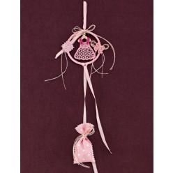 Μπομπονιέρα Βάπτισης Στεφανάκι με Πλεκτό Φόρεμα Ροζ-Φούξια και Πουγκάκι Πουά