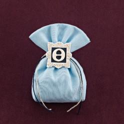 Σιέλ Πουγκί με Μονόγραμμα σε Κορνίζα για Μπομπονιέρα Βάπτισης