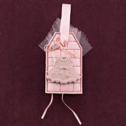 Ετικέτα Ροζ με Ακρυλικό Φόρεμα για Μπομπονιέρα Βάπτισης