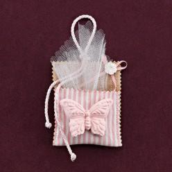 Ριγέ Τσέπη για Μπομπονιέρα Βάπτισης με Στολισμό Πεταλούδα Ροζ