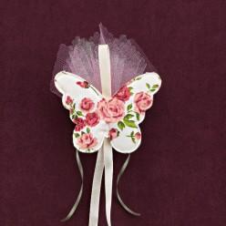 Floral Πεταλούδα Υφασμάτινη για Μπομπονιέρα Βάπτισης Κοριτσιού