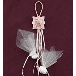 Ροζ Κορνίζα Ακρυλική με Διακόσμηση Καρουσέλ για Μπομπονιέρα Βάπτισης