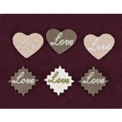 Διακοσμητικά Καρδιά και Μπάλωμα με Κέντημα Love