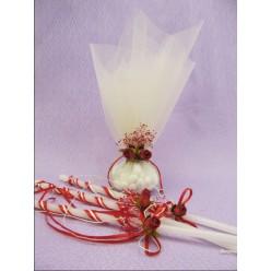 Στολισμένα κεριά με μπομπονιέρα κουμπαρου