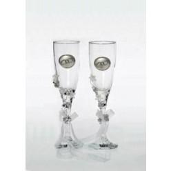 Κρυστάλλινα ποτήρια σαμπάνιας με επάργυρες βέρες