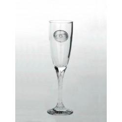 Κρυστάλλινο ποτήρι σαμπάνιας με επάργυρο διακοσμητικό