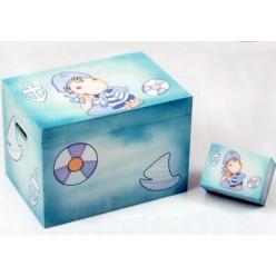 Ξύλινο Κουτί Βάπτισης Ναυτάκι