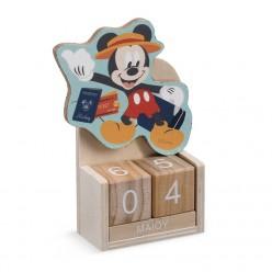 Ξύλινο Ημερολόγιο της Disney με τον Mickey για Μπομπονιέρα Βάπτισης