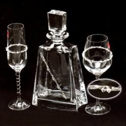Σετ Καράφα και Ποτήρι με ασήμι 925