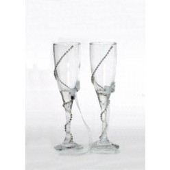 Σετ κρυστάλλινα ποτήρια σαμπάνιας με στράς τύπου Swarovski