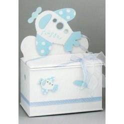 Ξύλινο κουτί βάπτισης με θέμα αεροπλανάκι