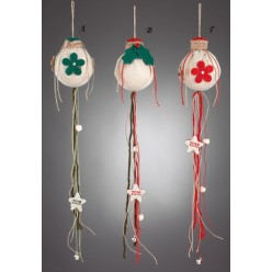 Χριστουγεννιάτικη Διακοσμητική Μπάλα από Τσόχα και Λινάτσα