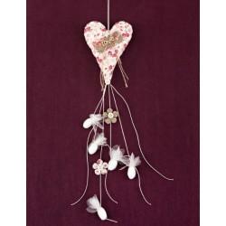 Φλοράλ Μπομπονιέρα Γάμου Φουσκωτή Καρδιά με Love