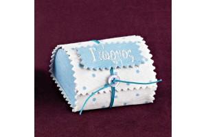 Μπομπονιέρα Βάπτισης Κουτί-Μπαουλάκι Πουά Υφάσματος