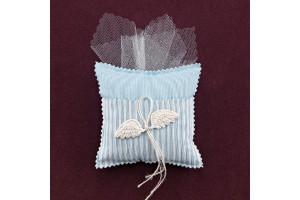 Μαξιλαράκι Σιέλ-Ριγέ με Διακόσμηση Φτερά Αγγέλου για Μπομπονιέρα Βάπτισης