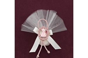 Μπομπονιέρα Βάπτισης Τούλι και Ακρυλική Κορνίζα με Διακόσμηση Φόρεμα
