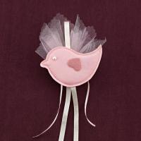 Ροζ Πουλάκι Υφασμάτινο για Μπομπονιέρα Βάπτισης Κοριτσιού